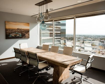 Warm-toned office boardroom.